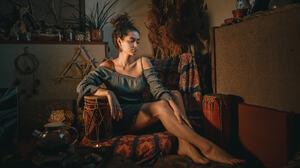 Andrew Vasiliev Women Brunette Hairbun Dress Legs Barefoot Jar Pattern Dark 2048x1153 Wallpaper