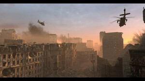 War City Ruins Helicopter Aircraft Vehicle Artwork Rubble 1920x860 Wallpaper