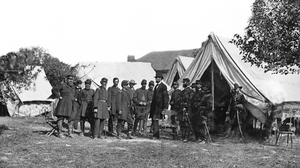 Abraham Lincoln USA Presidents History Monochrome Soldier Camp Military Civil War 4400x2475 Wallpaper