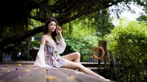 Women Model Asian Brunette Looking At Viewer Bare Shoulders Sitting Dress Depth Of Field Outdoors Wo 5000x3333 wallpaper
