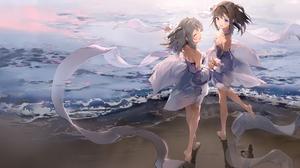 Beach Long Hair Purple Eyes Closed Eyes Brunette Twins Anmi Artwork Anime Girls Barefoot 3426x2403 Wallpaper