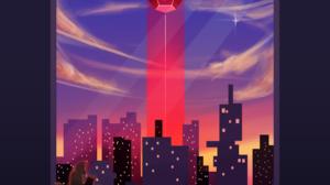 Skyline Beam Platonic Solids Clouds Sunset 3840x2715 Wallpaper