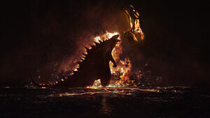 Godzilla Artwork Battle Dark Fire David Bocquillon Carrasco 3600x1416 Wallpaper