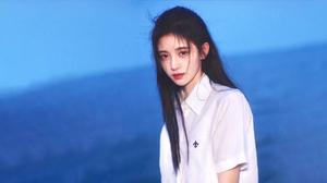 Kiku Ju Jingyi Actress Singer Women Chinese Asian Long Hair White Shirt 1920x1080 wallpaper