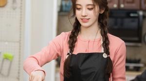 Kiku Ju Jingyi Actress Singer Women Chinese Asian Twist Braid Kitchen Pink Coat 2688x4094 wallpaper