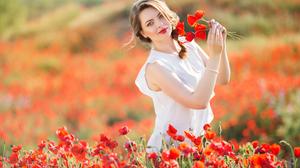 Blonde Braid Depth Of Field Field Flower Girl Lipstick Model Poppy Red Flower Summer Woman 4972x3315 Wallpaper