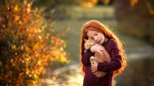 Cat Child Depth Of Field Girl Little Girl Long Hair Redhead 2500x1667 Wallpaper
