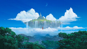 Artwork Digital Art Nature Mountains Clouds Forest Castle Fantasy Art Sky Moon Fantasy Girl Standing 2048x1152 Wallpaper