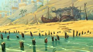 Landscape Digital Art Illusion Shore Boat Sand Water Fantasy City 5689x3075 Wallpaper