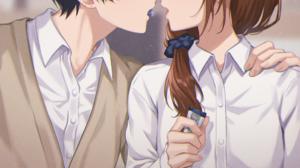 Horimiya Couple School Uniform Bangs JK Anime Boys Anime Girls Kissing Candy Blurry Background Black 2303x3502 Wallpaper
