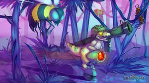 Bee Dinosaur Gun Helmet Starbound Video Game Weapon 1920x1080 wallpaper