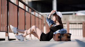 Serene Liu Women Model Asian Brunette Baseball Caps Dress Black Dress Skateboard Choker Closed Eyes  2048x1366 wallpaper
