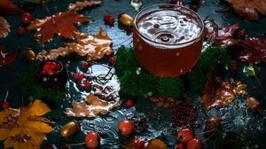 Cup Drink Fall Leaf Tea Water 2000x1333 Wallpaper