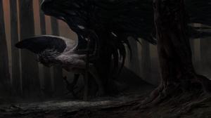 Creature Creepy Dark Sword Wings 8377x3248 Wallpaper