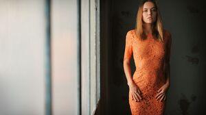 Women Portrait Blonde Blue Eyes Open Mouth Looking At Viewer Orange Dress Dress Indoors Black Nails  2048x1365 Wallpaper