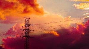 Sky Clouds Sunset Power Lines 2048x1152 Wallpaper