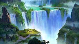 Artwork Landscape Nature Waterfall 1920x1237 Wallpaper