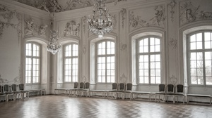 Chair Chandelier Hall White 7360x4912 Wallpaper