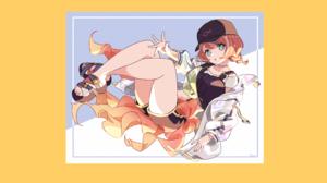 Original Characters Hari611 Shorts Hat Redhead Blue Eyes 2560x1440 Wallpaper
