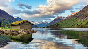Norway Mountains Clouds Reflection Nature House Landscape 3000x2000 Wallpaper