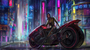 Cyberpunk Cyborg Futuristic Girl Motocycle Vehicle 3840x2160 wallpaper