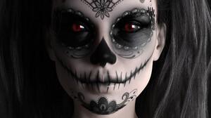 Fantasy Art Fantasy Girl Makeup Dia De Los Muertos ArtStation Glowing Eyes 2020 Year Skull 3D Render 1000x1300 Wallpaper