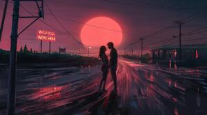 Digital Painting Romantic Night Couple Aenami Sunset Road Love Power Lines Neon Sign 1920x1080 Wallpaper