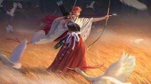 Hou China Digital Art Artwork Digital Painting Women Bow Archer Painted Nails Redhead Birds Fictiona 3800x2138 Wallpaper