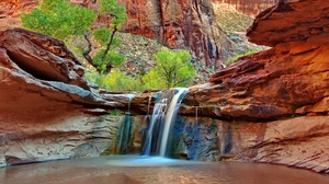 Canyon Earth Rock Waterfall 1920x1080 Wallpaper