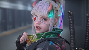 3D Render CGi Anime Eye Patch Eyepatches Sword Girls With Swords Horns 3840x2160 Wallpaper