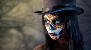 Artwork Photography Sugar Skull Top Hat Closeup Voodoo Women Face Dia De Los Muertos 1920x1080 Wallpaper