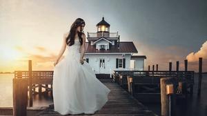 Women Model Pier Brides Dress White Dress White Clothing Women Outdoors Standing Looking Away Sunlig 2048x1152 Wallpaper