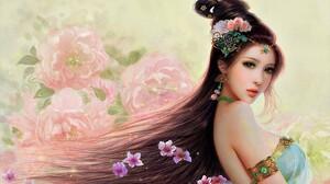 Asian Fantasy Flower Girl Jewelry Woman 1680x1050 Wallpaper