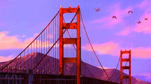 Samantha Lee Artwork Bridge Lights Birds Flying River Clouds Sky Evening Evening Glow Mountains Wate 1800x2872 Wallpaper