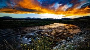Nature River Sunset Clouds Long Exposure 1920x1080 Wallpaper