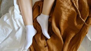 Socks White Socks Short Socks Legs Feet In Bed Linen Robe High Angle Women Model Women Indoors 3008x1688 Wallpaper