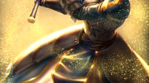 Fate Zero Fate Stay Night Fate Series Ahoge Armored Woman Fan Art 2D Women With Swords Green Eyes Lo 2062x2921 Wallpaper
