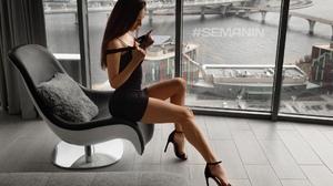 Women Dark Hair Long Hair Dress Black Clothing Legs High Heels Window Waterfront Fake Nails 1920x1280 Wallpaper