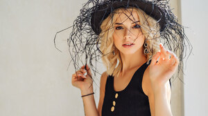 Angelina Aisman Max Klipa Women Model Blonde Hat Parted Lips Black Top Bare Shoulders Women Indoors  1920x1280 Wallpaper