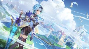 Genshin Impact Eula Genshin Impact Mondstadt Video Game Girls Anime Girls Blue Hair Mihoyo 2560x1440 wallpaper