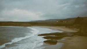 Sea Beach Winter Landscape Nature Film Grain Clouds Overcast 1544x1024 Wallpaper