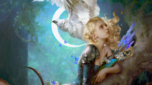 Woman Warrior Girl Blonde Arrow Bird 3840x2160 wallpaper