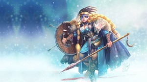 Blonde Blue Eyes Braid Girl Long Hair Shield Snowfall Spear Viking Woman Warrior 2048x1250 Wallpaper