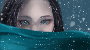 Blue Eyes Face Girl Snowfall Woman 2463x1366 Wallpaper