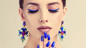 Earrings Face Girl Hand Makeup Model Portrait 1920x1200 Wallpaper