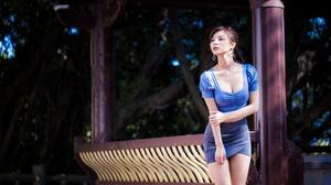 Asian Blue Dress Brunette Depth Of Field Girl Model Woman 4562x3041 wallpaper
