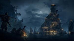 Artwork Digital Art Night Fantasy Art Boat River 3840x1674 Wallpaper