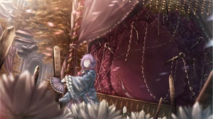 Chain Fan Flower Girl Purple Hair Satori Komeiji Touhou 2002x1150 Wallpaper