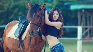 Asian Hot Pants Horse Saddles Gloves Bare Midriff Lipstick 2048x1365 Wallpaper