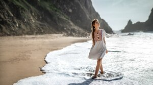 Women Brunette Women Outdoors Braids Beach Looking Into The Distance Dress Long Hair Ksenia Kokoreva 1800x1125 Wallpaper